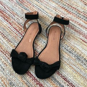 Madewell black leather ankle strap sandals
